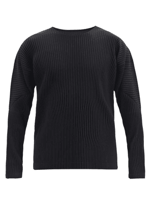 Homme Plissé Issey Miyake - Technical-pleated Long-sleeved T-shirt - Mens - Black