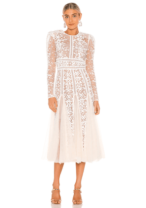 Bronx and Banco Megan Bridal Midi Dress in White. Size M,S,XS.