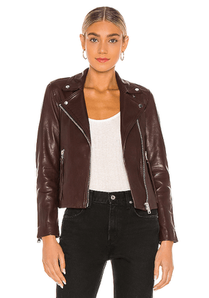 ALLSAINTS Dalby Biker Jacket in Brown. Size 10,2,4,6,8.