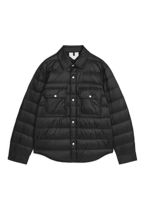 Quilted Down Shirt Jacket - Black