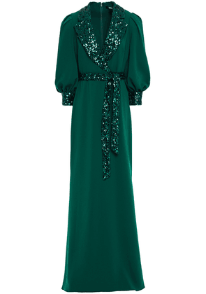 Badgley Mischka Belted Wrap-effect Sequin-embellished Crepe Gown Woman Emerald Size 2