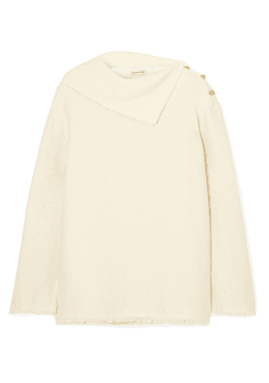 By Malene Birger Cesana Button-detailed Frayed Tweed Top Woman Ivory Size 32