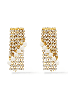 Elizabeth Cole 24-karat Gold-plated, Crystal And Faux Pearl Earrings Woman Gold Size --