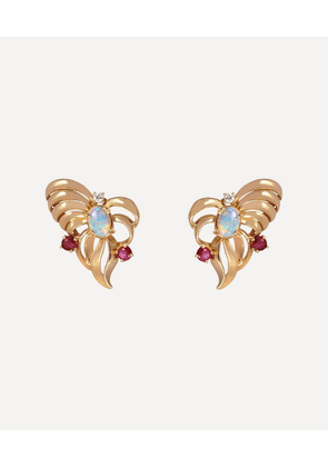 Gold 1940s Retro Multi-Stone Clip-On Earrings