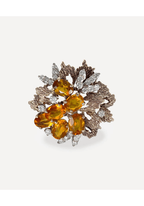 Gold 1970s Imperial Topaz and Diamond Cocktail Ring