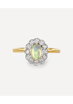 Gold Opal and Diamond Cluster Ring