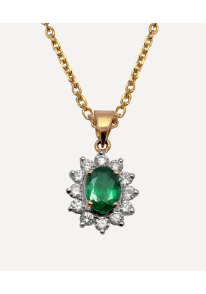 Gold Emerald and Diamond Cluster Pendant Necklace