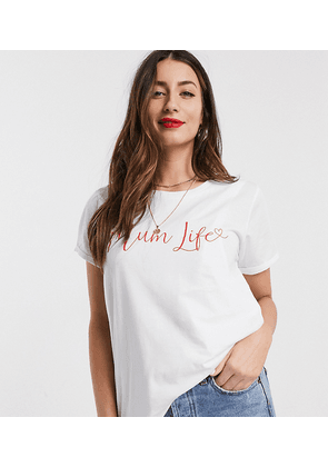 ASOS DESIGN Maternity nursing t-shirt with mum life slogan-White