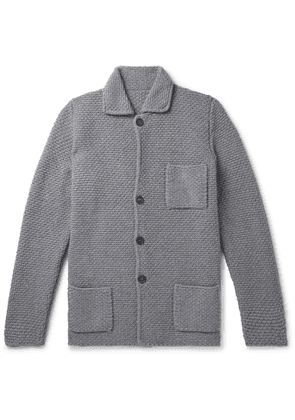 Anderson & Sheppard - Slim-Fit Waffle-Knit Merino Wool and Cashmere-Blend Cardigan - Men - Gray