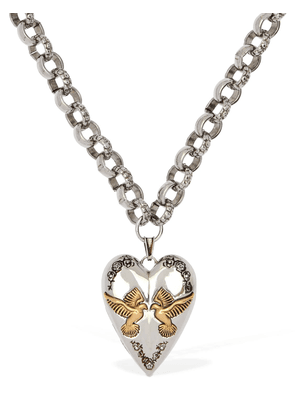 Heart Pendant Chunky Chain Long Necklace