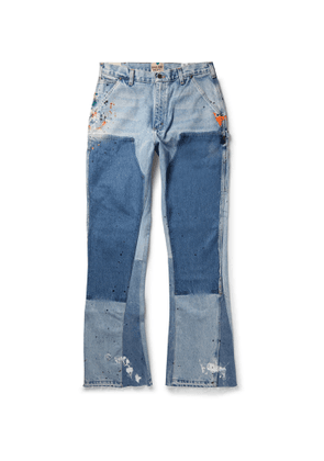 Gallery Dept. - LA Flare Panelled Paint-Splattered Distressed Denim Jeans - Men - Blue