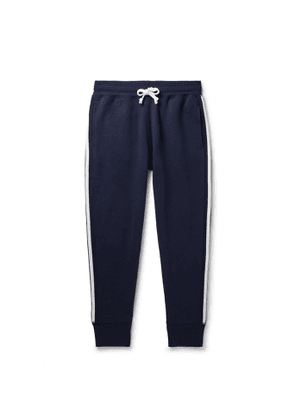 Kingsman - Slim-Fit Tapered Striped Cotton and Cashmere-Blend Jersey Sweatpants - Men - Blue