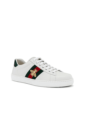 Gucci New Ace Sneaker in White  Red & Green - Green,White. Size 12 (also in 7.5,10,11,8,8.5,9,7,9.5,10.5).