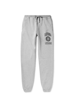 Pasadena Leisure Club - California Leisure Tapered Printed Mélange Fleece-Back Cotton-Jersey Sweatpants - Men - Gray