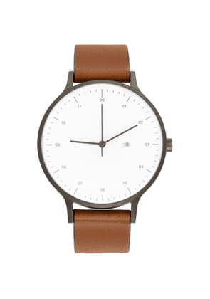 Instrmnt Gunmetal and Tan Leather Everyday Watch