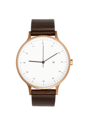 Instrmnt Rose Gold and Brown Leather Everyday Watch