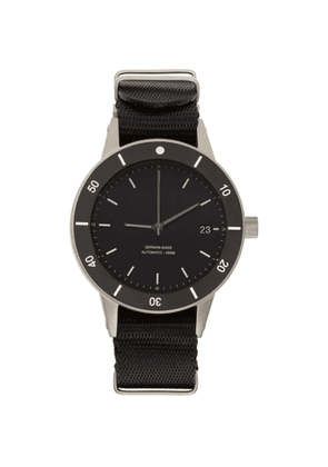 Instrmnt Silver and Black Webbing Dive Watch