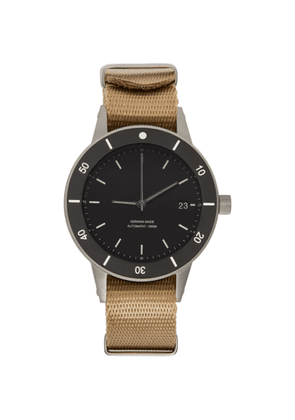 Instrmnt Black and Beige Webbing Dive Watch