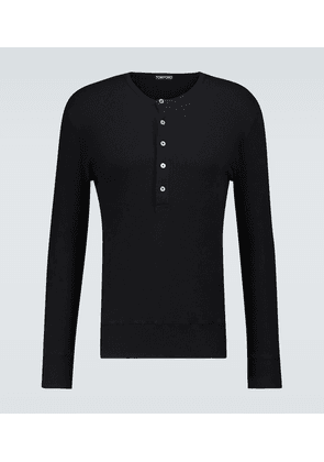 Ribbed cotton Henley top