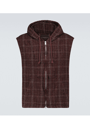Checked wool gilet with hood