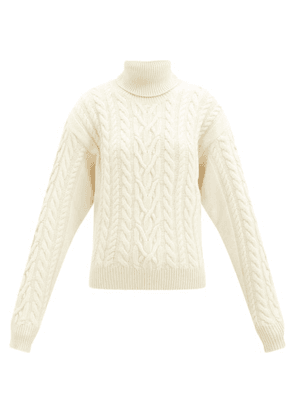 Blazé Milano - Cabled Wool-blend Roll-neck Sweater - Womens - White