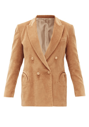 Blazé Milano - Classic Touch Double-breasted Cotton Blazer - Womens - Camel