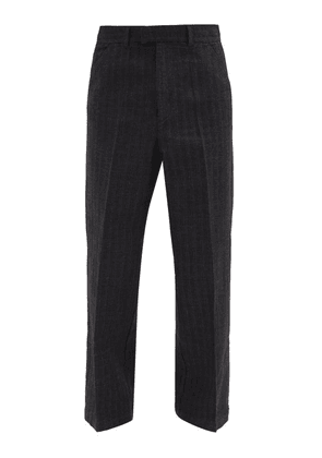Our Legacy - Pinstriped Cotton-herringbone Trousers - Mens - Black