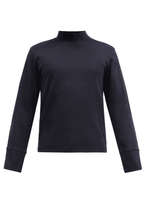 Thom Browne - Tricolour-trim Cotton Long-sleeved T-shirt - Mens - Navy