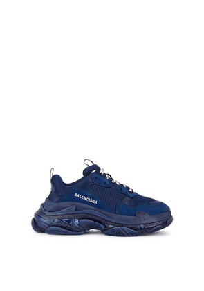 Balenciaga Triple S Navy Mesh And Nubuck Sneakers