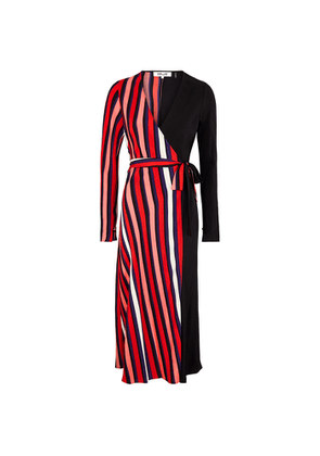 Diane Von Furstenberg Tilly Striped Silk Crepe De Chine Wrap Dress