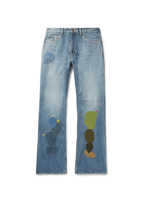 KAPITAL - Embroidered Appliquéd Denim Jeans - Men - Blue