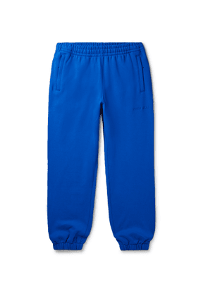 adidas Consortium - Pharrell Williams Basics Slim-Fit Logo-Embroidered Loopback Cotton-Jersey Sweatpants - Men - Blue