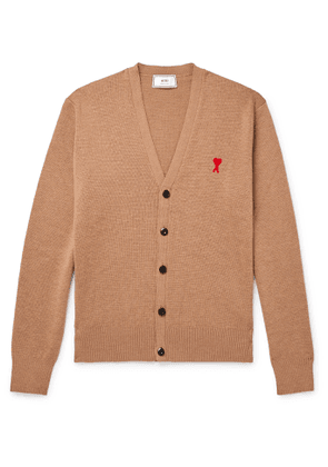AMI - Logo-Appliquéd Merino Wool Cardigan - Men - Neutrals