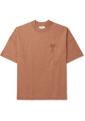 AMI - Logo-Embroidered Cotton-Jersey T-Shirt - Men - Neutrals