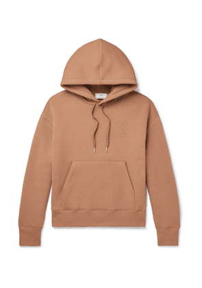 AMI - Logo-Appliquéd Fleece-Back Cotton-Blend Jersey Hoodie - Men - Neutrals