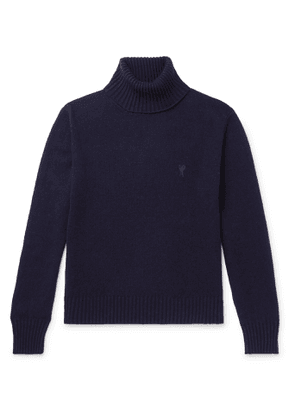 AMI - Logo-Embroidered Cashmere Rollneck Sweater - Men - Blue