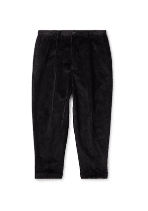 AMI - Cropped Tapered Cotton-Corduroy Trousers - Men - Black