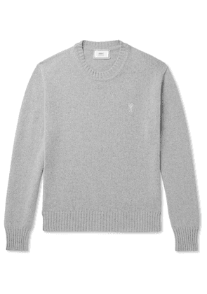 AMI - Logo-Embroidered Cashmere Sweater - Men - Gray