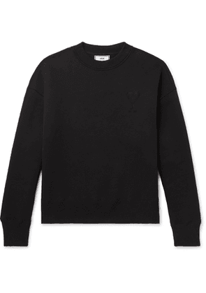 AMI - Logo-Embroidered Fleece-Back Cotton-Blend Jersey Sweatshirt - Men - Black