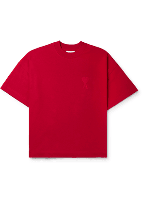 AMI - Logo-Embroidered Cotton-Jersey T-Shirt - Men - Red