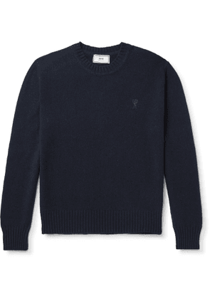 AMI - Logo-Embroidered Cashmere Sweater - Men - Blue