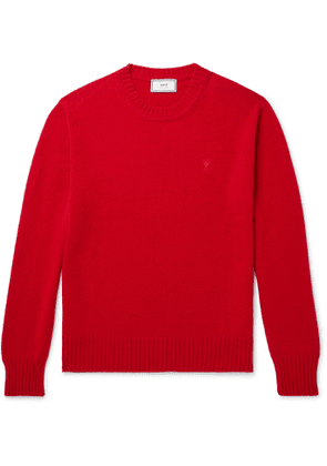 AMI - Logo-Embroidered Cashmere Sweater - Men - Red