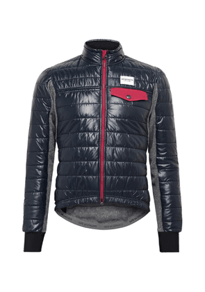 Cafe du Cycliste - Albertine Slim-Fit Fleece-Panelled Quilted Padded Shell Cycling Jacket - Men - Blue