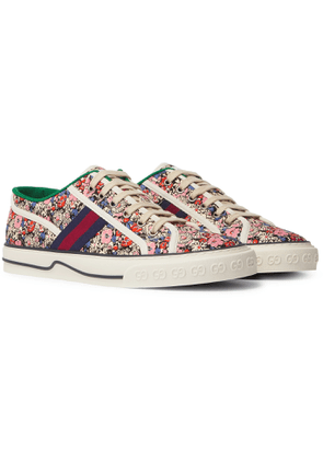 Gucci - Liberty Tennis 1977 Leather and Webbing-Trimmed Printed Canvas Sneakers - Men - Pink
