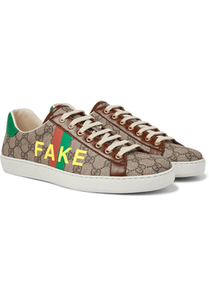 Gucci - Ace Printed Leather-Trimmed Monogrammed Coated-Canvas Sneakers - Men - Brown