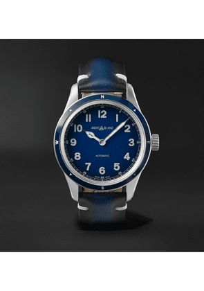 Montblanc - 1858 Automatic 40mm Stainless Steel and Leather Watch, Ref. No. 126758 - Men - Blue