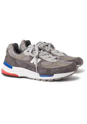 New Balance - 992 Leather-Trimmed Suede and Mesh Sneakers - Men - Gray