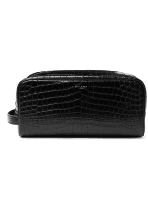 SAINT LAURENT - Croc-Effect Leather Wash Bag - Men - Black