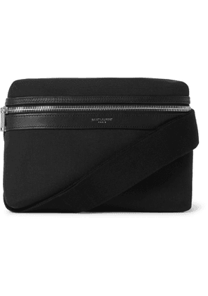 SAINT LAURENT - Leather-Trimmed Canvas Messenger Bag - Men - Black