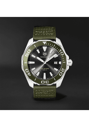 TAG Heuer - Aquaracer 43mm Stainless Steel and NATO Webbing Watch, Ref. No. WAY101L.FC8222 - Men - Green